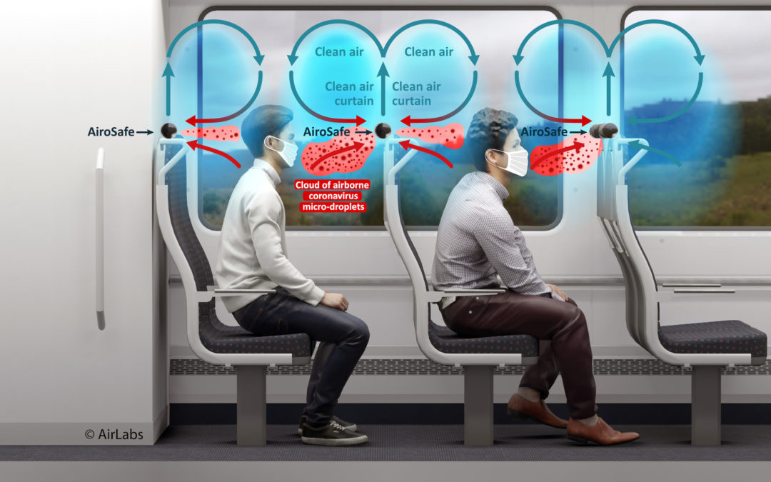 Air filtration system to protect public transport passengers from airborne viruses